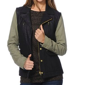 Obey Hearst Black & Army Green Faux Leather Vest